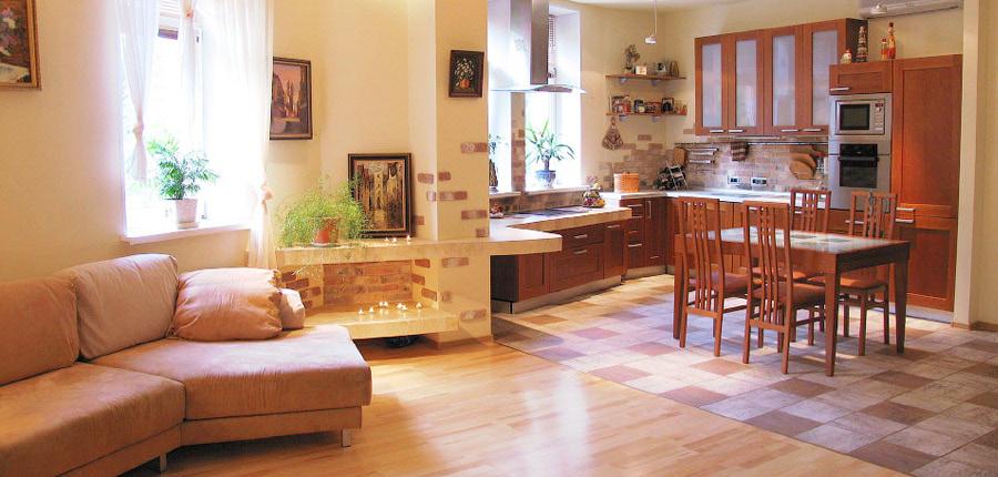Дизайн гостиной. Постмодернизм в стиле кантри. zdes-design.ru